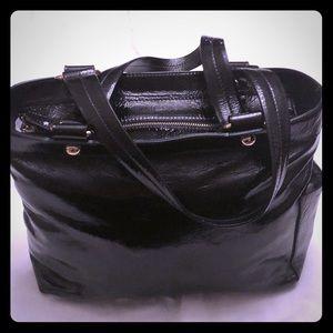 Genuine Bally patent leather black tote.